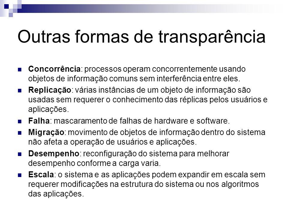 Outras formas de transparência Concorrência: processos operam concorrentemente usando objetos de informação comuns sem interferência entre eles. Repli