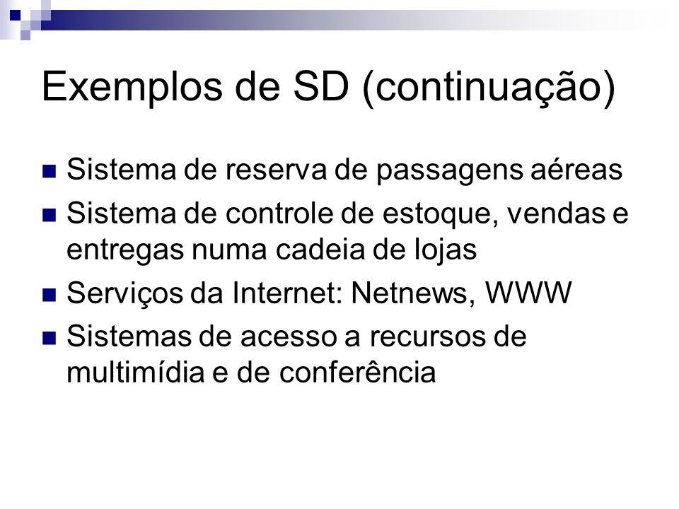 Exemplos de SD (continuação) Sistema de reserva de passagens aéreas Sistema de controle de estoque, vendas e entregas numa cadeia de lojas Serviços da