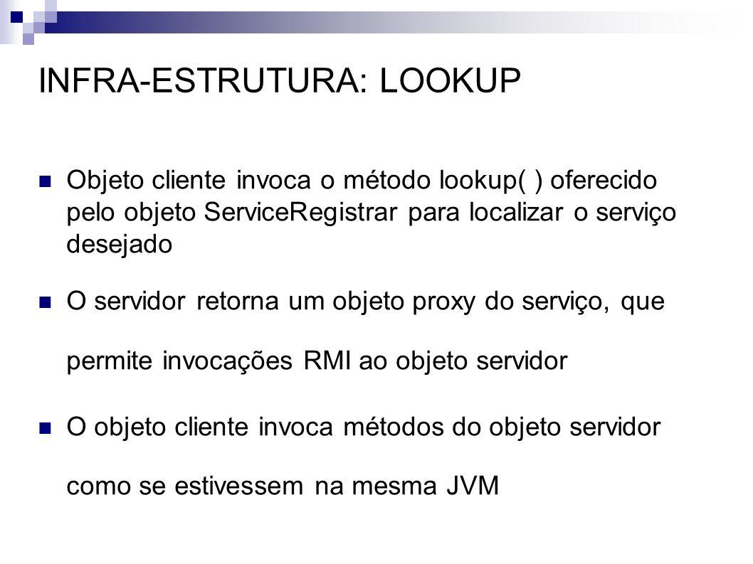 INFRA-ESTRUTURA: LOOKUP Objeto cliente invoca o método lookup( ) oferecido pelo objeto ServiceRegistrar para localizar o serviço desejado O servidor r
