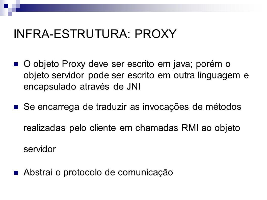 INFRA-ESTRUTURA: PROXY O objeto Proxy deve ser escrito em java; porém o objeto servidor pode ser escrito em outra linguagem e encapsulado através de J