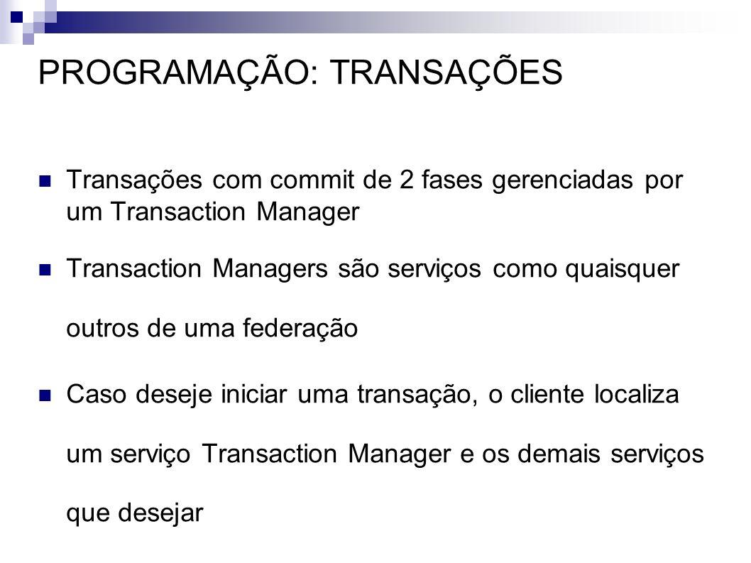 PROGRAMAÇÃO: TRANSAÇÕES Transações com commit de 2 fases gerenciadas por um Transaction Manager Transaction Managers são serviços como quaisquer outro