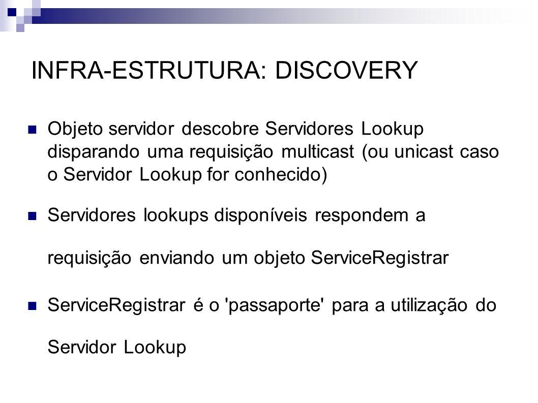 INFRA-ESTRUTURA: DISCOVERY Objeto servidor descobre Servidores Lookup disparando uma requisição multicast (ou unicast caso o Servidor Lookup for conhe