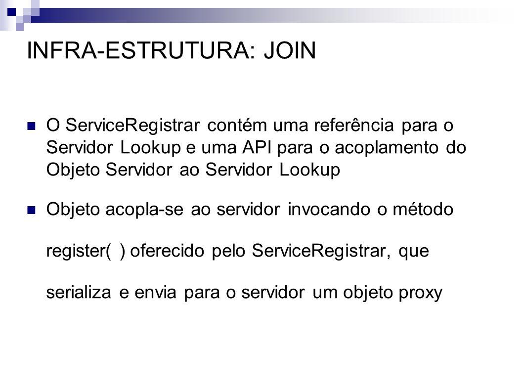INFRA-ESTRUTURA: JOIN O ServiceRegistrar contém uma referência para o Servidor Lookup e uma API para o acoplamento do Objeto Servidor ao Servidor Look