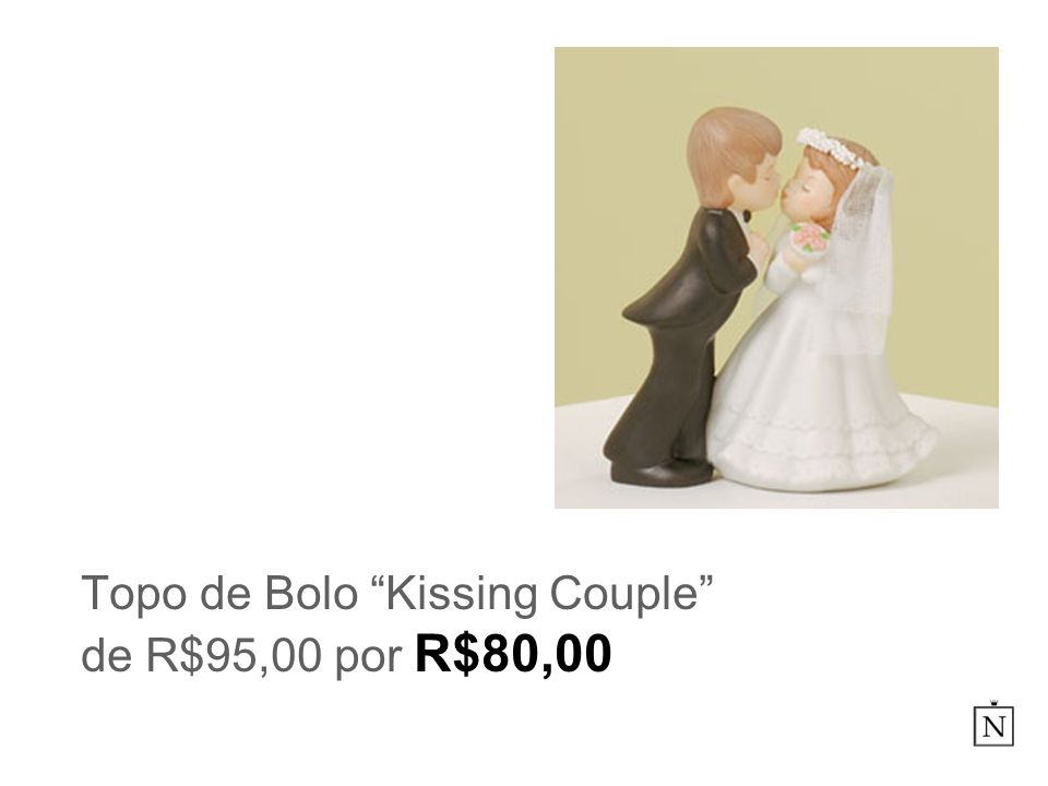 Topo de Bolo Kissing Couple de R$95,00 por R$80,00