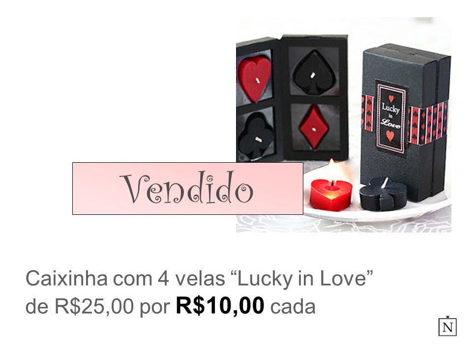 Caixinha com 4 velas Lucky in Love de R$25,00 por R$10,00 cada Vendido