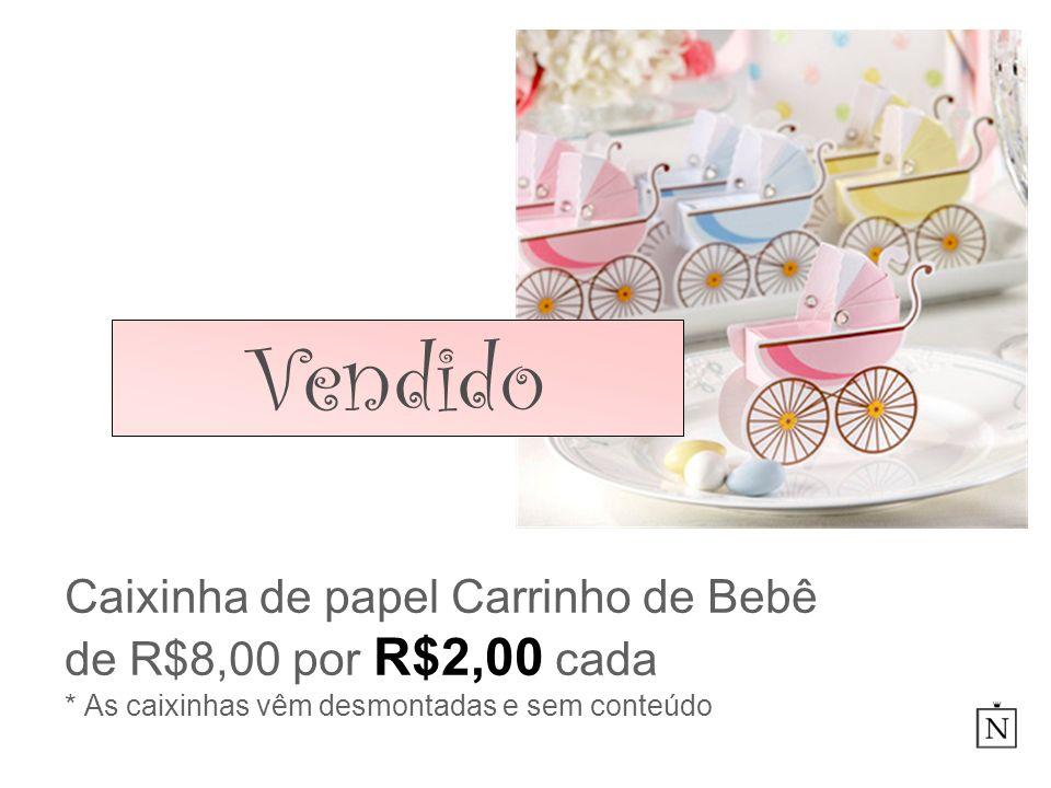 Caixinha de papel Carrinho de Bebê de R$8,00 por R$2,00 cada * As caixinhas vêm desmontadas e sem conteúdo Vendido