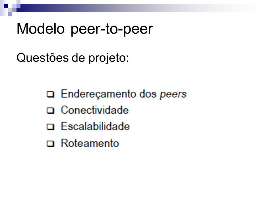Modelo peer-to-peer Questões de projeto: