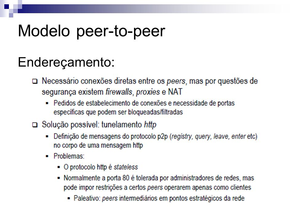 Modelo peer-to-peer Endereçamento: