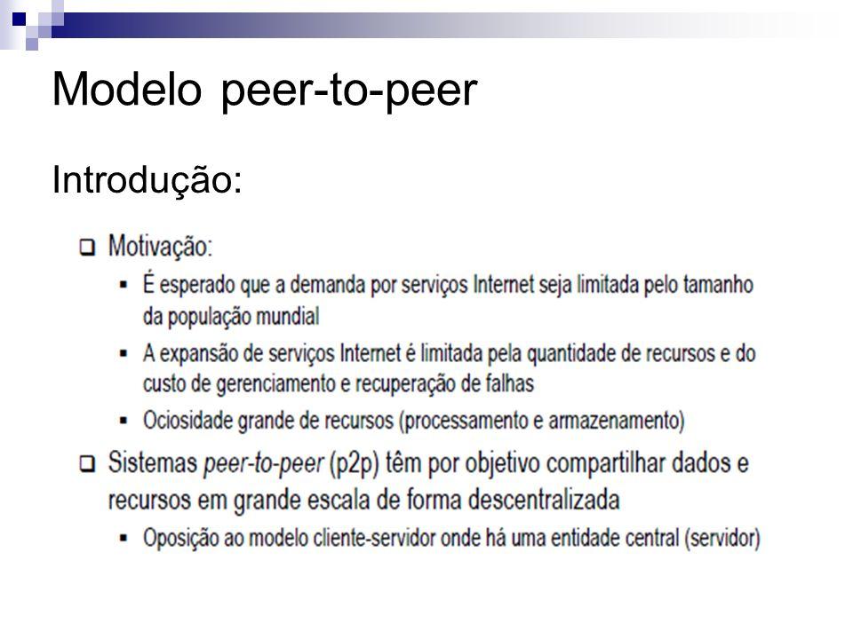 Modelo peer-to-peer Introdução: