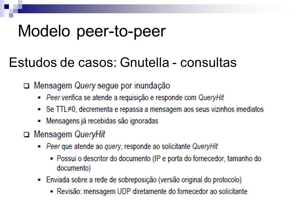 Modelo peer-to-peer Estudos de casos: Gnutella - consultas