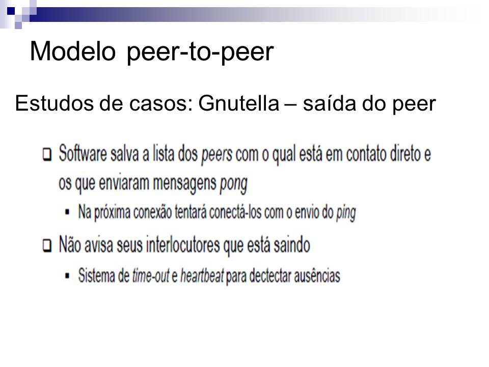 Modelo peer-to-peer Estudos de casos: Gnutella – saída do peer