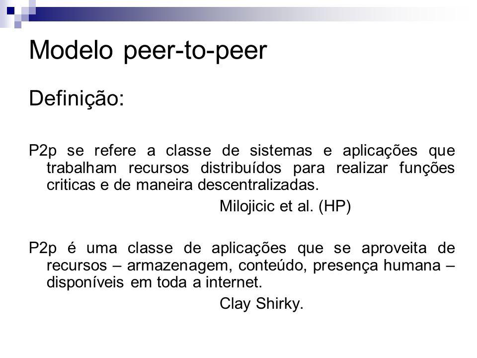 Modelo peer-to-peer Definição: P2p se refere a classe de sistemas e aplicações que trabalham recursos distribuídos para realizar funções criticas e de