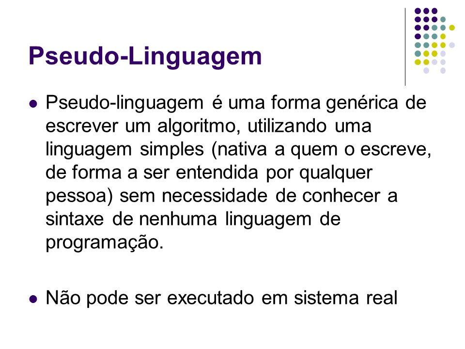 Pseudo-linguagem é uma forma genérica de escrever um algoritmo, utilizando uma linguagem simples (nativa a quem o escreve, de forma a ser entendida po