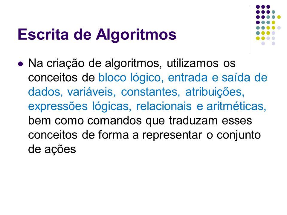 Escrita de Algoritmos Na criação de algoritmos, utilizamos os conceitos de bloco lógico, entrada e saída de dados, variáveis, constantes, atribuições,