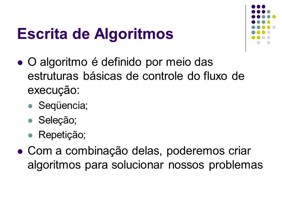 Escrita de Algoritmos O algoritmo é definido por meio das estruturas básicas de controle do fluxo de execução: Seqüencia; Seleção; Repetição; Com a co