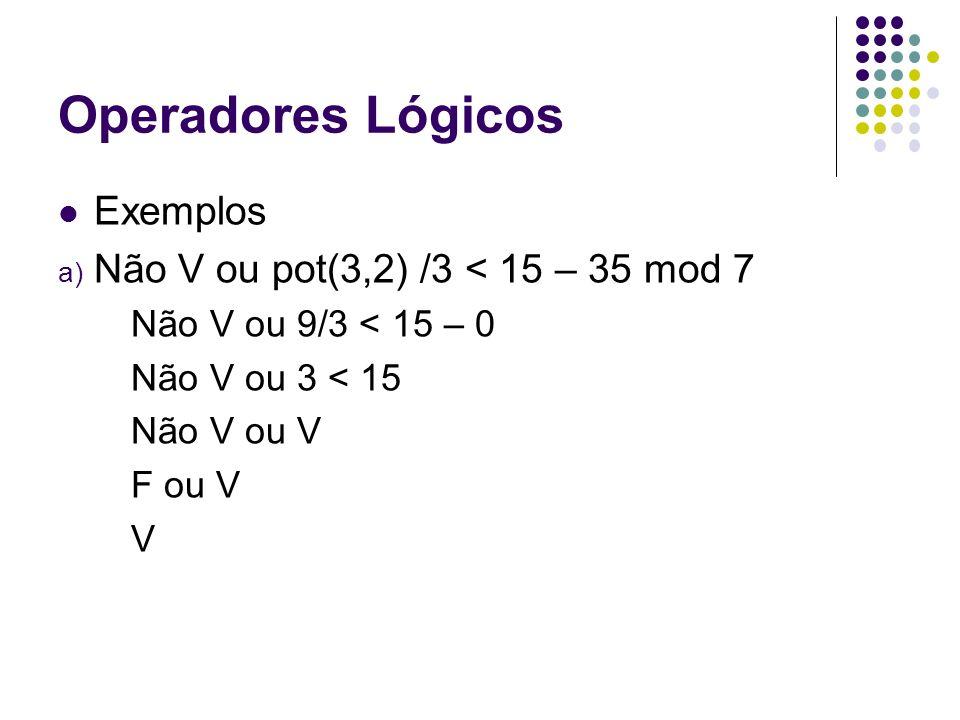 Operadores Lógicos Exemplos a) Não V ou pot(3,2) /3 < 15 – 35 mod 7 Não V ou 9/3 < 15 – 0 Não V ou 3 < 15 Não V ou V F ou V V