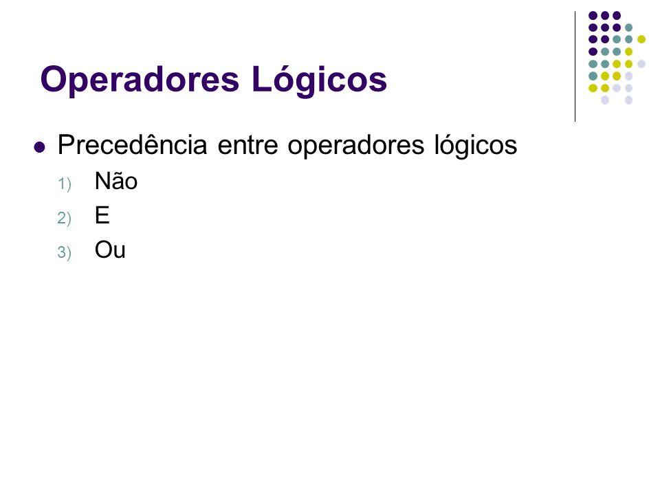 Operadores Lógicos Precedência entre operadores lógicos 1) Não 2) E 3) Ou