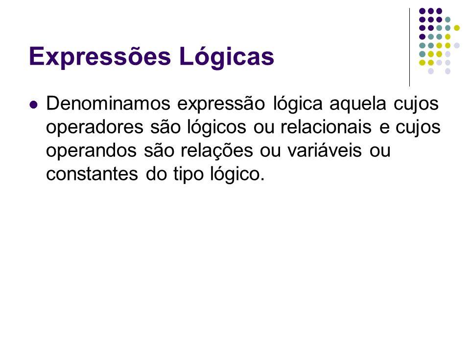 Denominamos expressão lógica aquela cujos operadores são lógicos ou relacionais e cujos operandos são relações ou variáveis ou constantes do tipo lógi