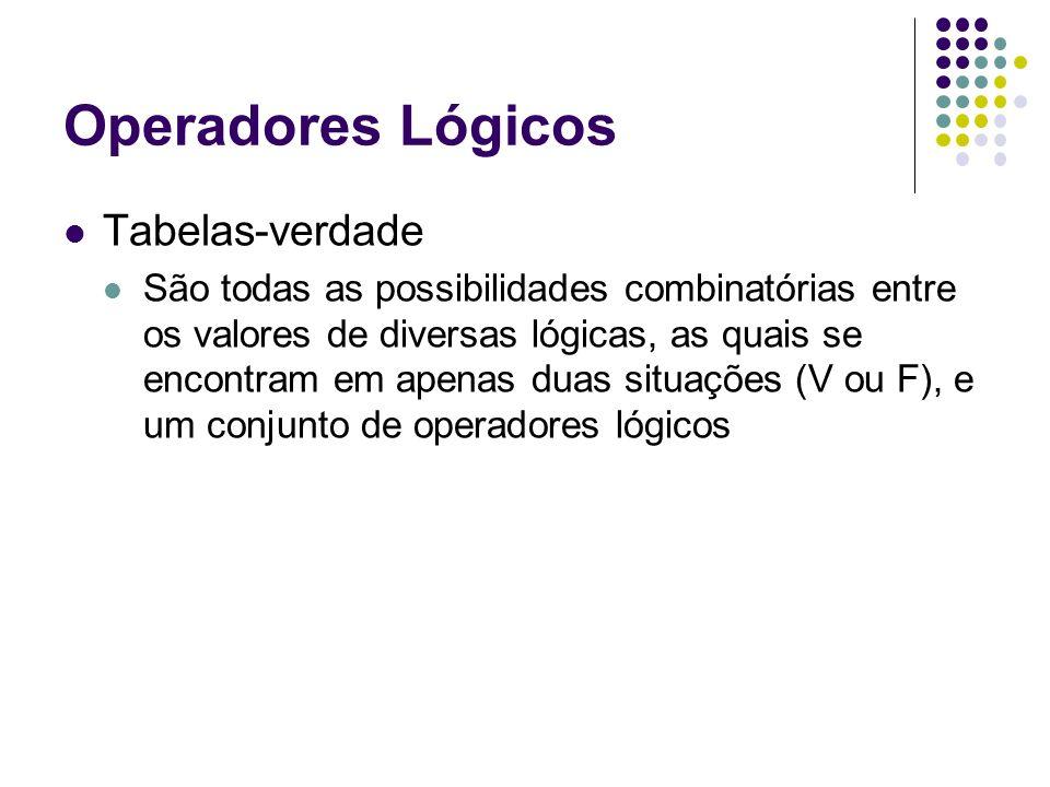 Operadores Lógicos Tabelas-verdade São todas as possibilidades combinatórias entre os valores de diversas lógicas, as quais se encontram em apenas dua