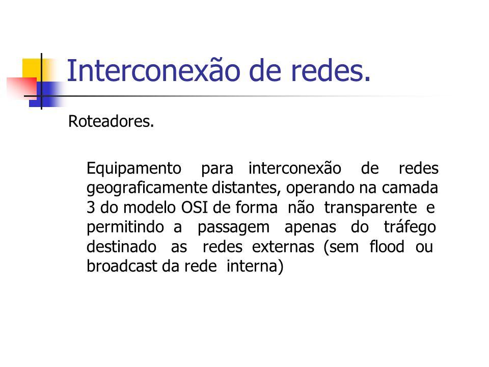 Interconexão de redes. Roteadores. Equipamento para interconexão de redes geograficamente distantes, operando na camada 3 do modelo OSI de forma não t