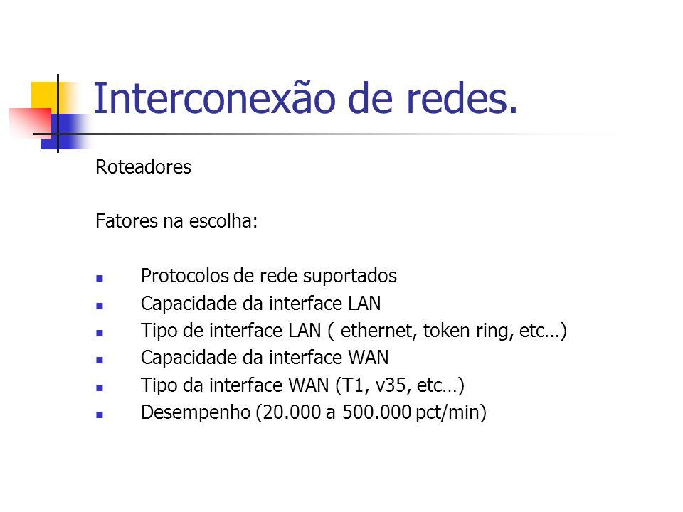 Interconexão de redes. Roteadores Fatores na escolha: Protocolos de rede suportados Capacidade da interface LAN Tipo de interface LAN ( ethernet, toke