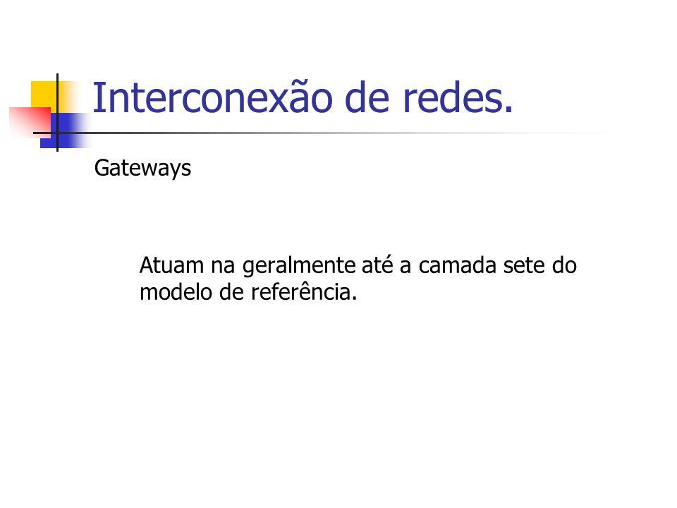 Interconexão de redes. Gateways Atuam na geralmente até a camada sete do modelo de referência.