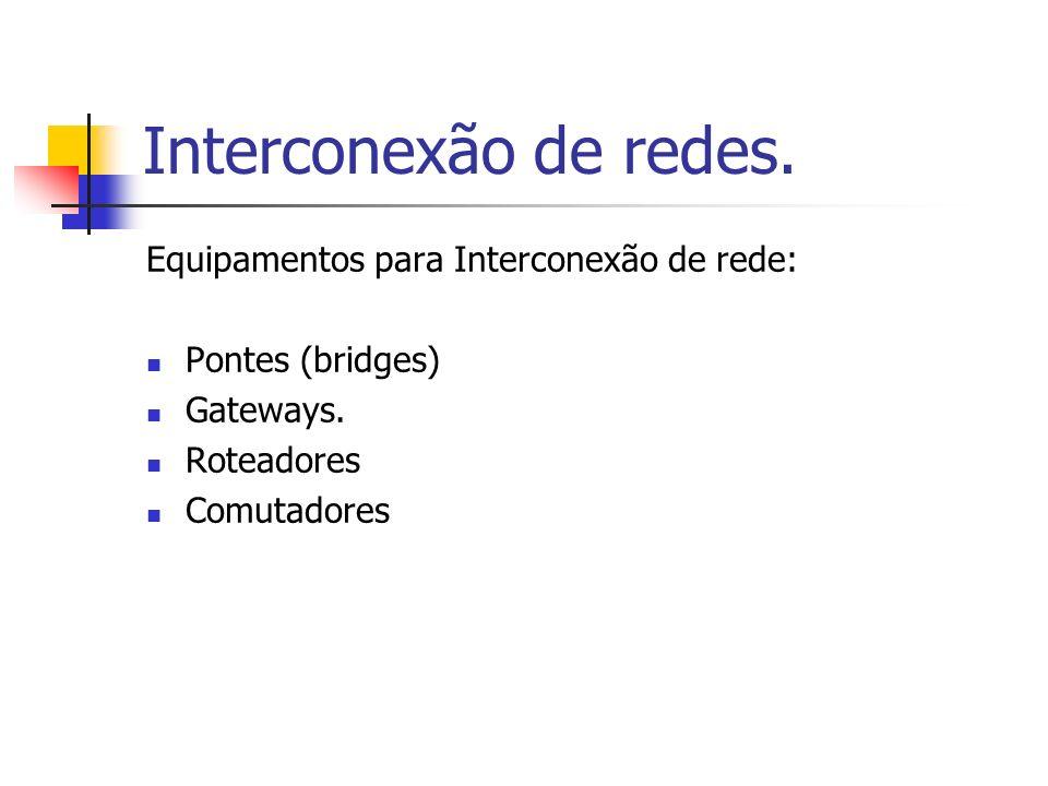Interconexão de redes. Equipamentos para Interconexão de rede: Pontes (bridges) Gateways. Roteadores Comutadores