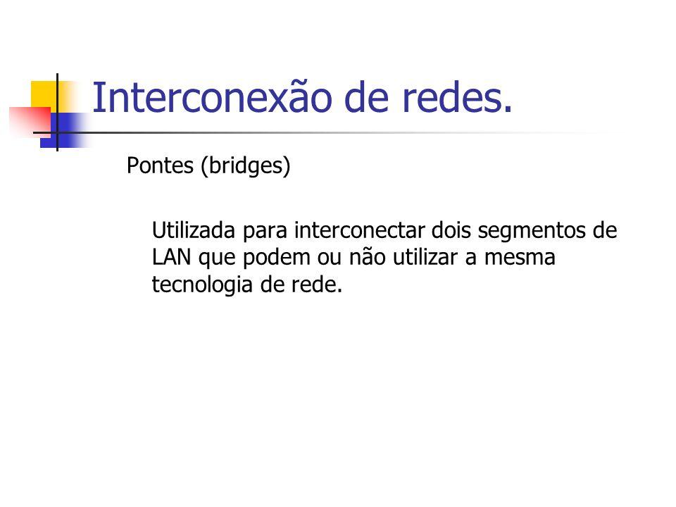 Interconexão de redes. Pontes (bridges) Utilizada para interconectar dois segmentos de LAN que podem ou não utilizar a mesma tecnologia de rede.