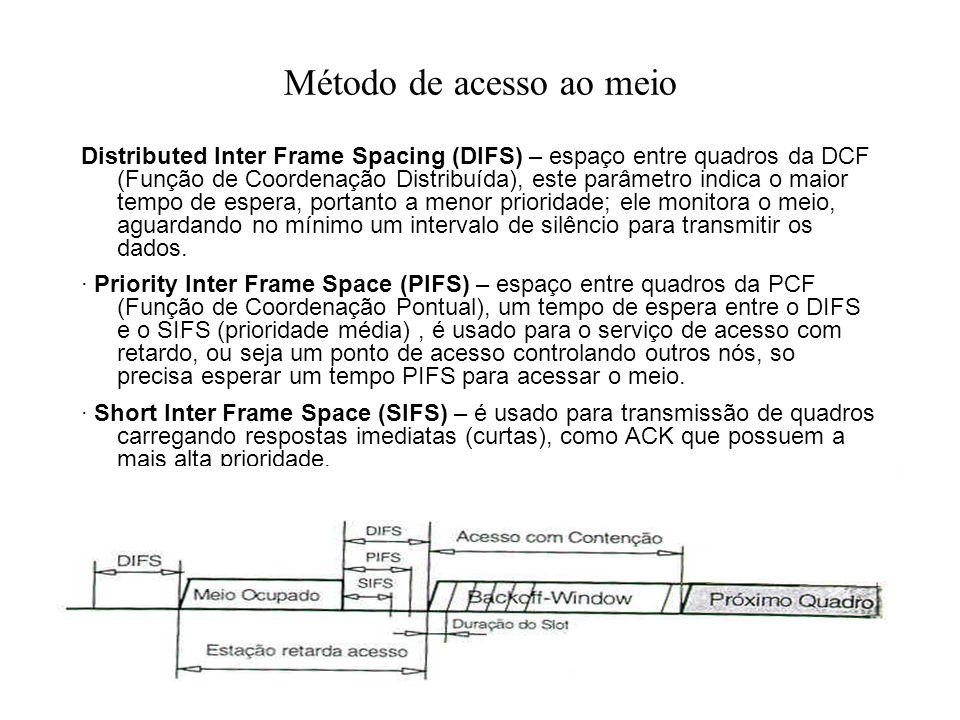 Método de acesso ao meio Distributed Inter Frame Spacing (DIFS) – espaço entre quadros da DCF (Função de Coordenação Distribuída), este parâmetro indica o maior tempo de espera, portanto a menor prioridade; ele monitora o meio, aguardando no mínimo um intervalo de silêncio para transmitir os dados.