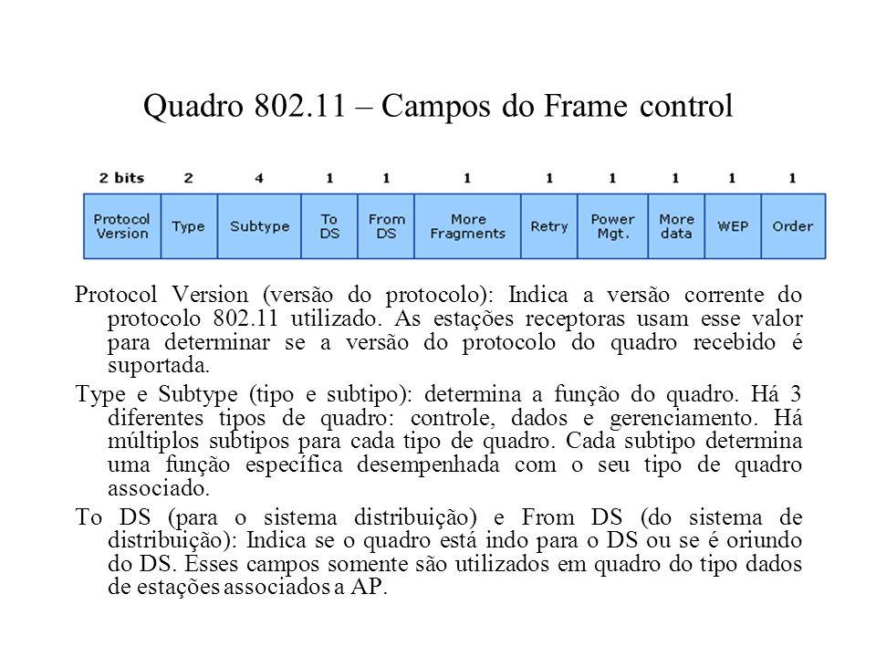 Quadro 802.11 – Campos do Frame control Protocol Version (versão do protocolo): Indica a versão corrente do protocolo 802.11 utilizado.