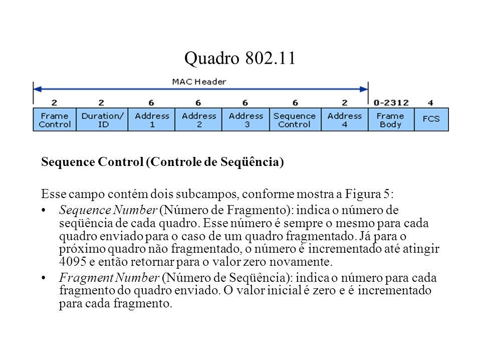 Quadro 802.11 Sequence Control (Controle de Seqüência) Esse campo contém dois subcampos, conforme mostra a Figura 5: Sequence Number (Número de Fragmento): indica o número de seqüência de cada quadro.