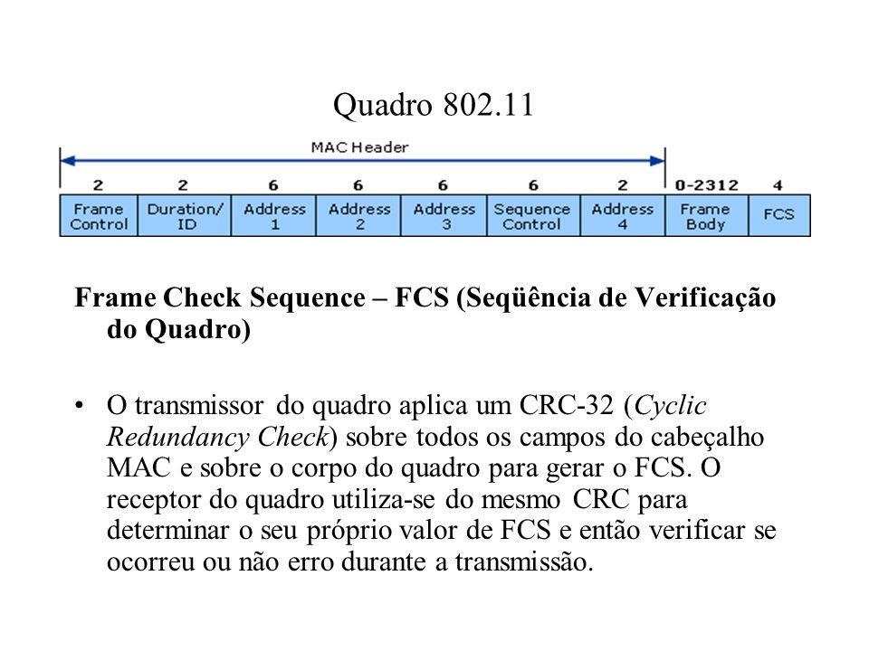Quadro 802.11 Frame Check Sequence – FCS (Seqüência de Verificação do Quadro) O transmissor do quadro aplica um CRC-32 (Cyclic Redundancy Check) sobre todos os campos do cabeçalho MAC e sobre o corpo do quadro para gerar o FCS.