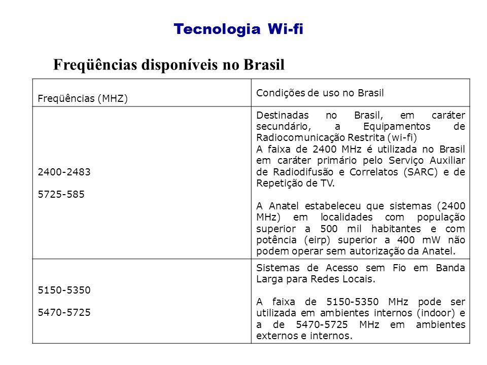 Tecnologia Wi-fi Freqüências disponíveis no Brasil Freqüências (MHZ) Condições de uso no Brasil 2400-2483 5725-585 Destinadas no Brasil, em caráter secundário, a Equipamentos de Radiocomunicação Restrita (wi-fi) A faixa de 2400 MHz é utilizada no Brasil em caráter primário pelo Serviço Auxiliar de Radiodifusão e Correlatos (SARC) e de Repetição de TV.