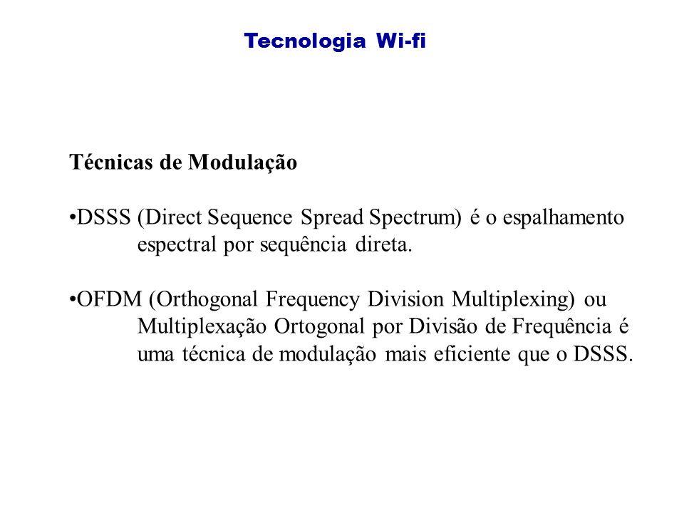Tecnologia Wi-fi Técnicas de Modulação DSSS (Direct Sequence Spread Spectrum) é o espalhamento espectral por sequência direta.