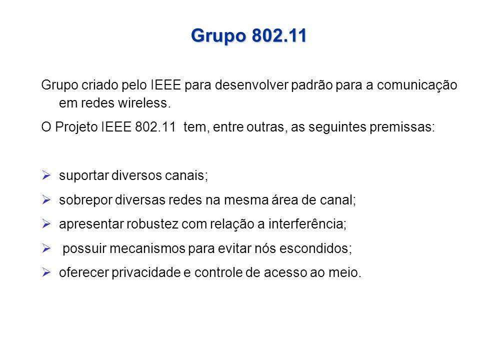 Quadro 802.11 Frame Body (Corpo do Quadro) Contém a informação específica de dados ou de gerenciamento.