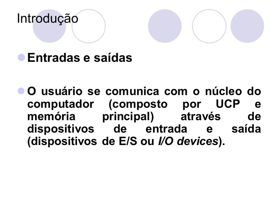 Entradas e saídas O usuário se comunica com o núcleo do computador (composto por UCP e memória principal) através de dispositivos de entrada e saída (dispositivos de E/S ou I/O devices).