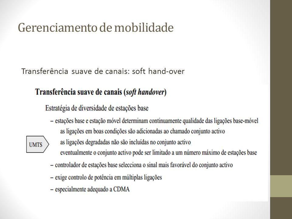 Gerenciamento de mobilidade Transferência suave de canais: soft hand-over
