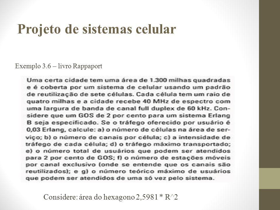 Exemplo 3.6 – livro Rappaport Projeto de sistemas celular Considere: área do hexagono 2,5981 * R^2