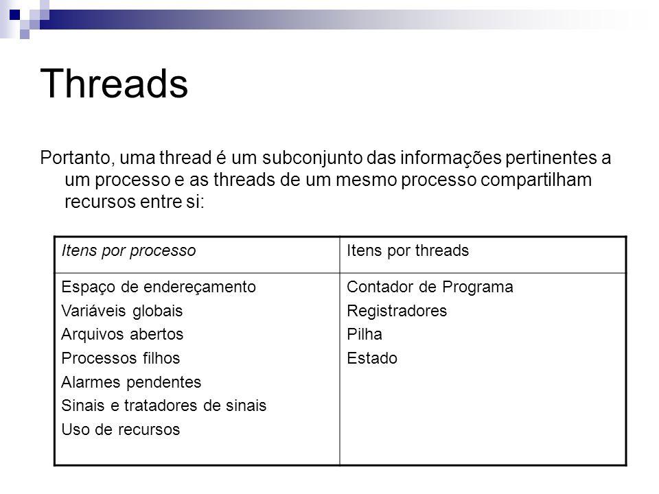 Threads Portanto, uma thread é um subconjunto das informações pertinentes a um processo e as threads de um mesmo processo compartilham recursos entre