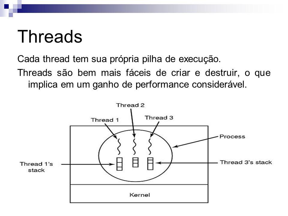 Threads Cada thread tem sua própria pilha de execução. Threads são bem mais fáceis de criar e destruir, o que implica em um ganho de performance consi