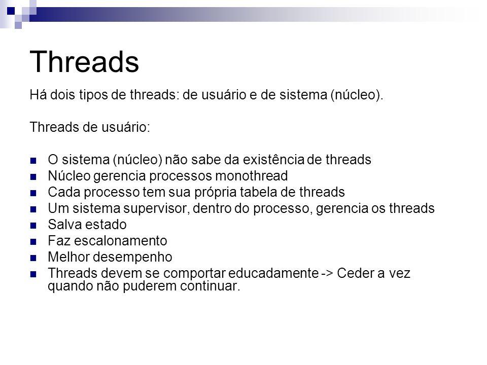 Threads Há dois tipos de threads: de usuário e de sistema (núcleo). Threads de usuário: O sistema (núcleo) não sabe da existência de threads Núcleo ge