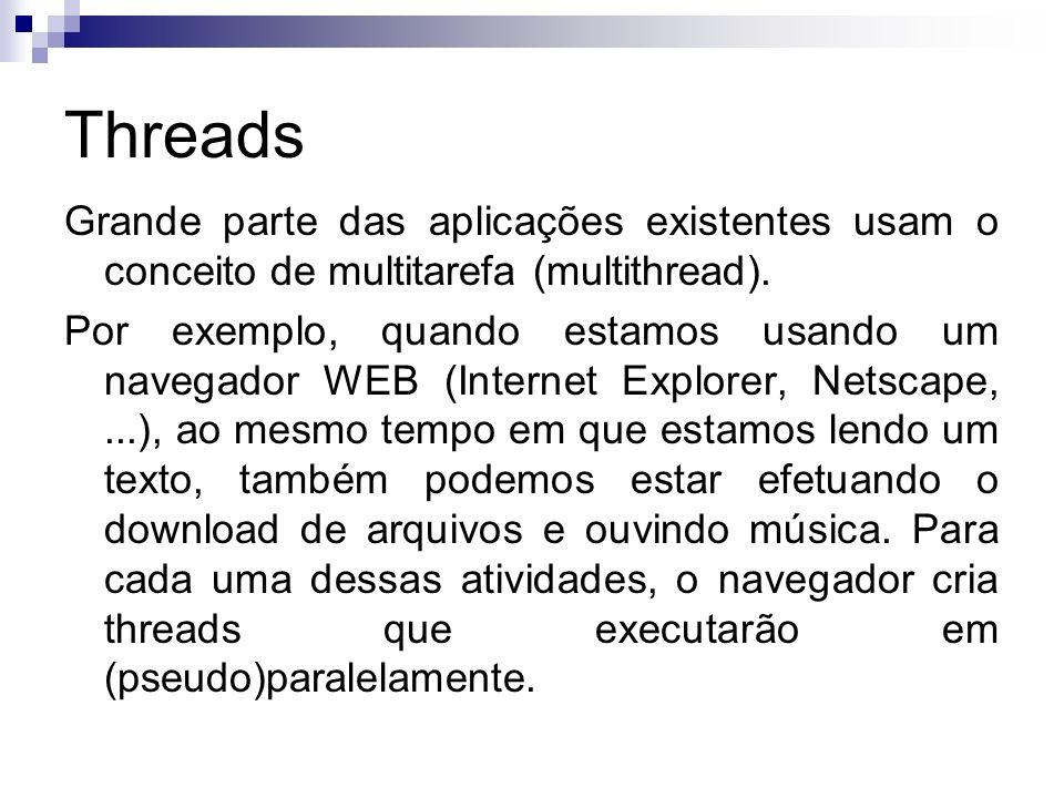 Threads Grande parte das aplicações existentes usam o conceito de multitarefa (multithread). Por exemplo, quando estamos usando um navegador WEB (Inte
