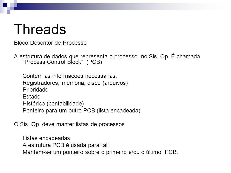 Threads Bloco Descritor de Processo A estrutura de dados que representa o processo no Sis. Op. É chamada Process Control Block (PCB) Contém as informa