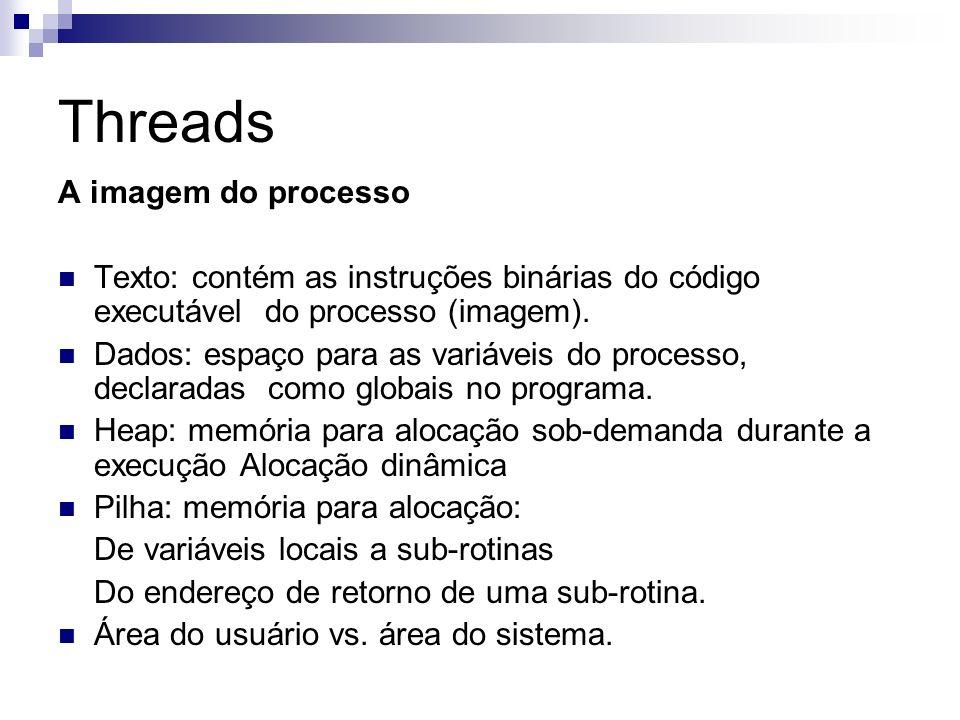 Threads A imagem do processo Texto: contém as instruções binárias do código executável do processo (imagem). Dados: espaço para as variáveis do proces