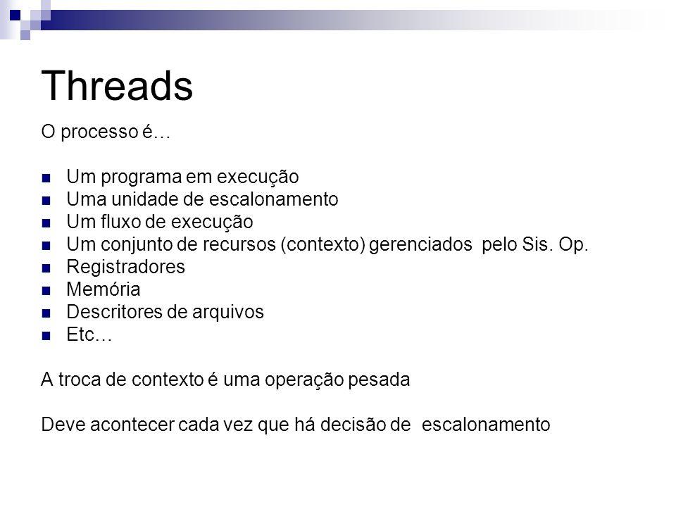 Threads O processo é… Um programa em execução Uma unidade de escalonamento Um fluxo de execução Um conjunto de recursos (contexto) gerenciados pelo Si