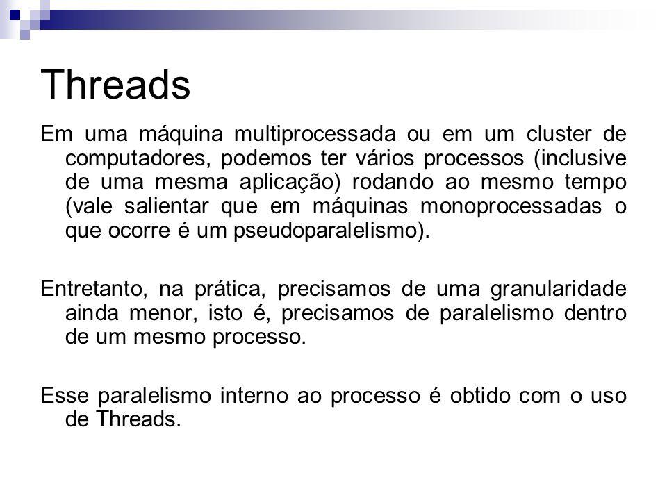 Threads Em uma máquina multiprocessada ou em um cluster de computadores, podemos ter vários processos (inclusive de uma mesma aplicação) rodando ao me