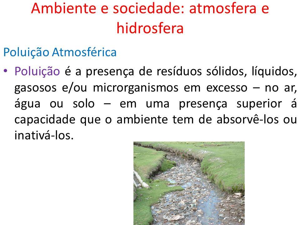 Ambiente e sociedade: atmosfera e hidrosfera Poluição Atmosférica Poluição é a presença de resíduos sólidos, líquidos, gasosos e/ou microrganismos em