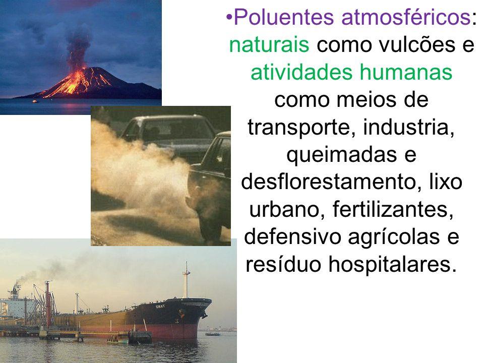 Poluentes atmosféricos: naturais como vulcões e atividades humanas como meios de transporte, industria, queimadas e desflorestamento, lixo urbano, fer