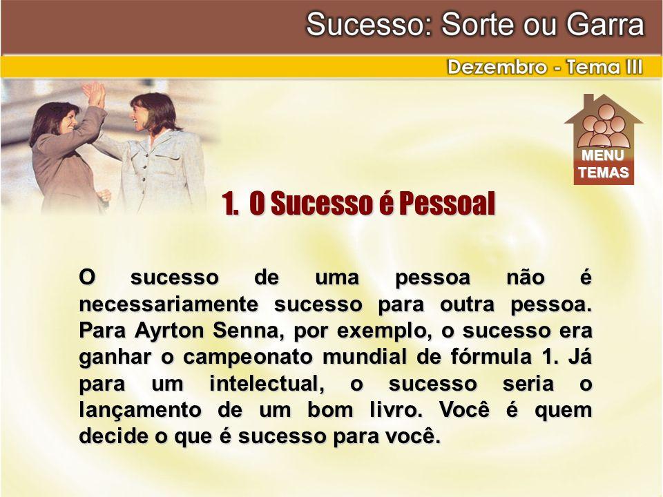 O sucesso de uma pessoa não é necessariamente sucesso para outra pessoa. Para Ayrton Senna, por exemplo, o sucesso era ganhar o campeonato mundial de