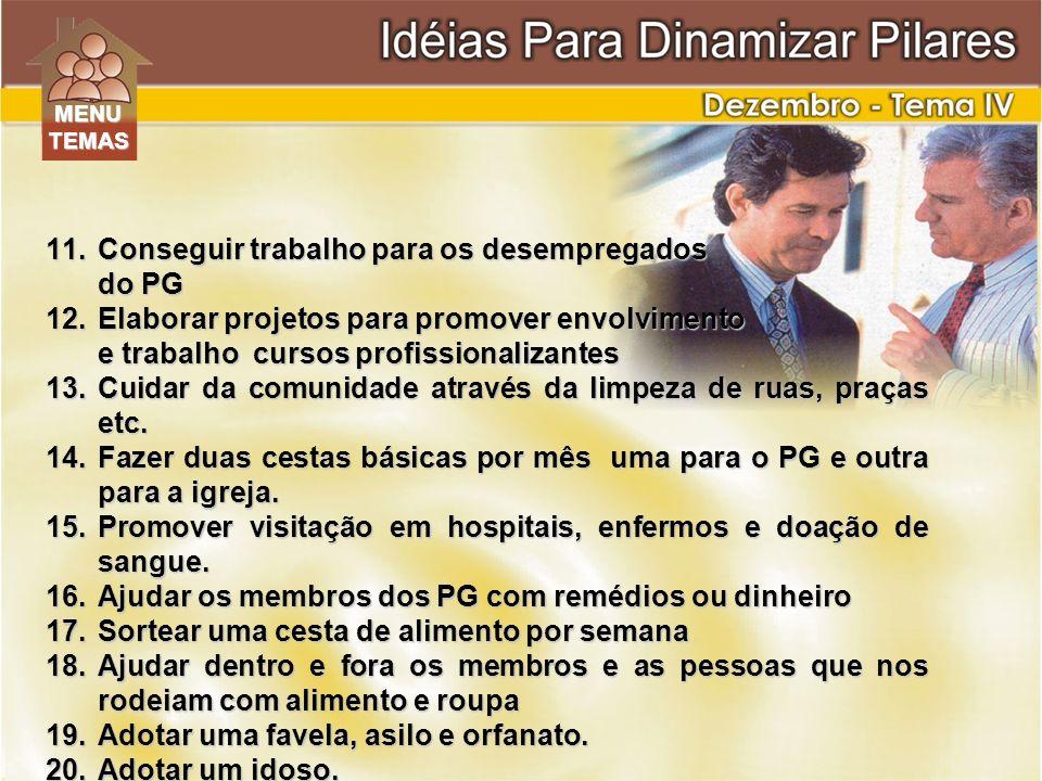 11.Conseguir trabalho para os desempregados do PG 12.Elaborar projetos para promover envolvimento e trabalho cursos profissionalizantes 13.Cuidar da c